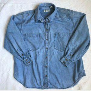 Liz Claiborne Womens Plus Sz 18 Denim Jean Shirt